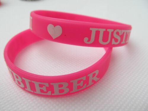 Unisex Rosa I Love Justin Bieber Belieber Silicona Goma Muñequera vendedor del Reino Unido