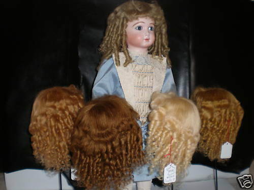 PERRUQUE en MOHAIR pour POUPEE ancienne -DOLL WIG -T9 (32cm)  Made in France