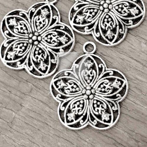 15pcs Lots Tibetan Silver Metal Charm Pendant Jewelry Finding Flower 30x26x3mm