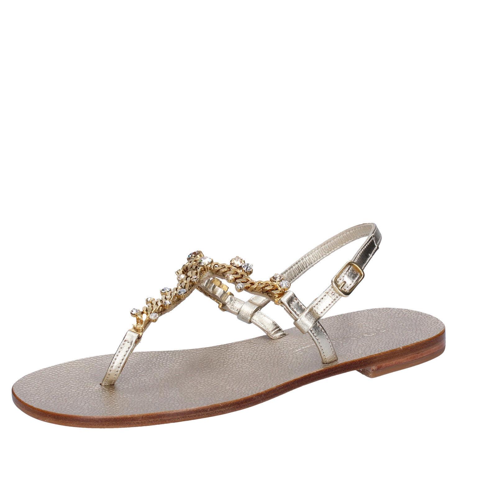 Damens's schuhe EDDY DANIELE 7 (EU 37) Sandale platinum Leder Swarovski AW67-37