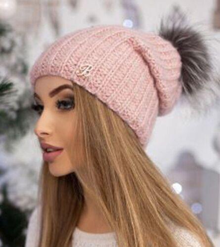 verschiedene Farben Echtfell-Bommel elegant Strickmütze Damen NEU warm