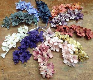 VINTAGE-Mini-LILACS-Cotton-SILK-1pc-flowers-Stems-JAPAN