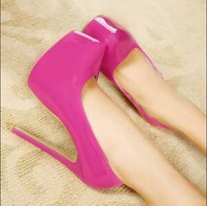 Womens-Patent-Leather-Platform-Pumps-Pointed-Toe-Stilettos-High-Heel-Shoes-Party