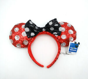 Disney Park Gift Mickey Sequin Red White Polka Dot Minnie Mouse Ears Headband