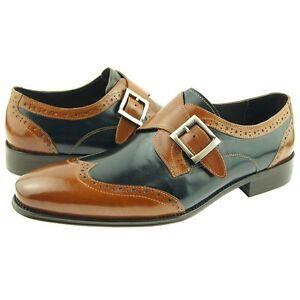 e55ba24a8fcd7 Carrucci Wingtip Monk Strap, Men's Spectator Dress Leather Shoes ...
