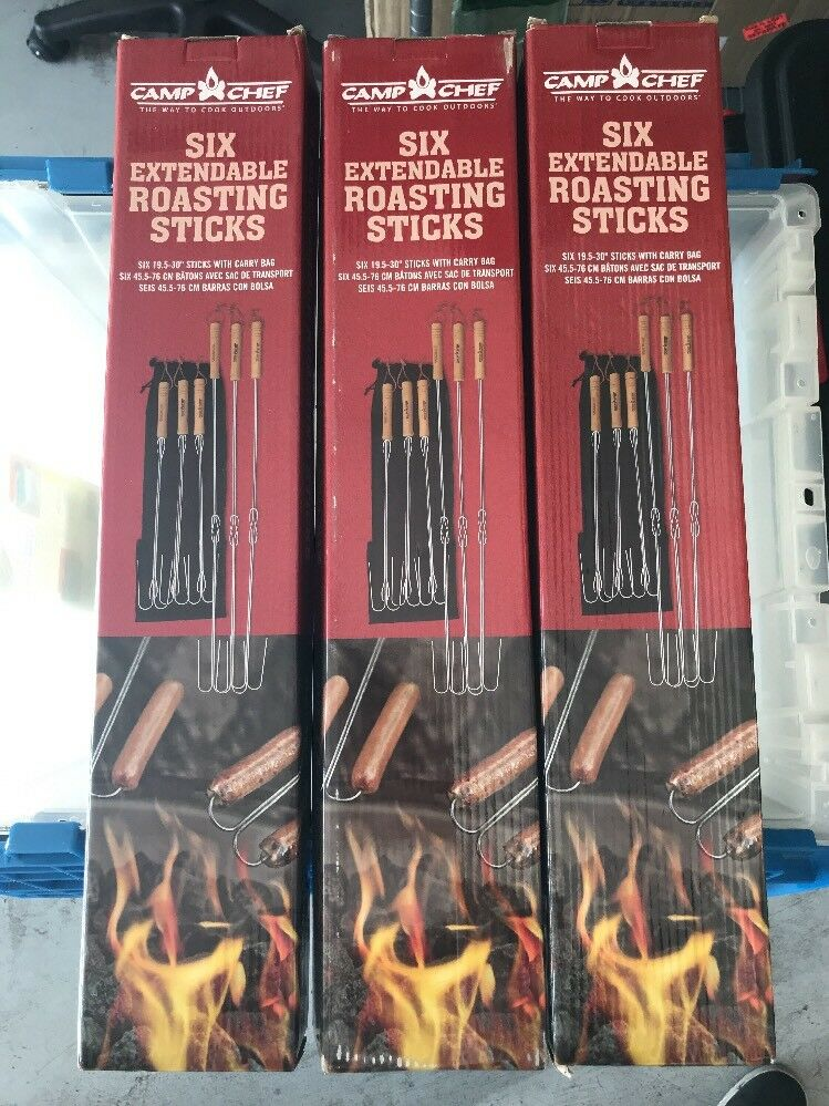 Camp  Chef 6 Piece Extending Safety Roasting Fork Lot of 3 - 18 Pieces total  big savings