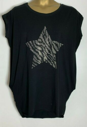 One Size Cotton Stretch Jersey Italian Star Embellished Long Tunic//Top 0s-6fm