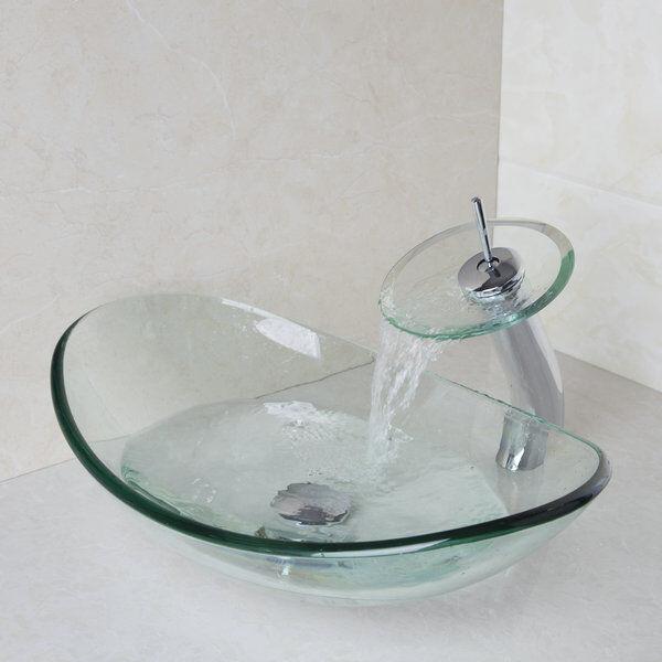 Lavabo da bagno Lavello in vetro trasparente Lavello per vaschetta e miscelatore