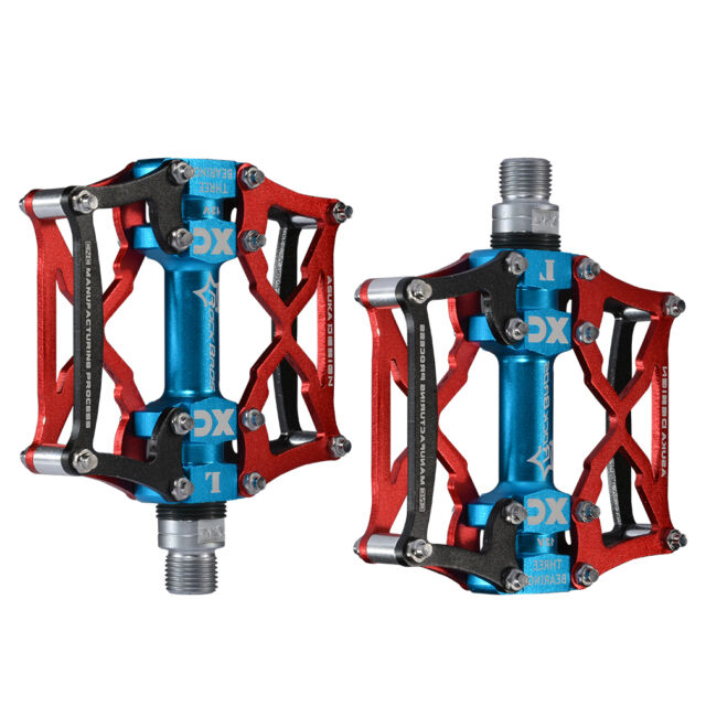 RockBros Road Mountain Bike Pedals Aluminum Alloy Cycling 3 Sealed Bearing Red