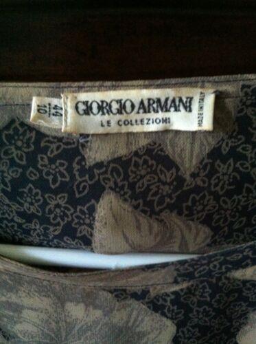 44 Floral Khaki Blue Sheer Armani Giorgio 10 Top In Vtg vqt8B6gxwZ