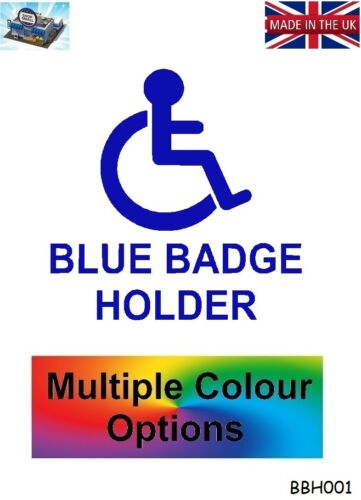 BLUE BADGE HOLDER DISABLED DISABILITY CAR WALL LOGO STICKER DECAL VINYL BBH001
