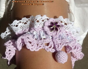 Jarretiere De Mariee Creation Couture Crochet Main*