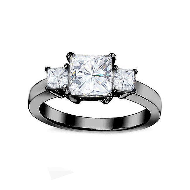 0.70CT Women 3 Stone Square Princess Brilliant Moissanite 14K BG Engagement Ring