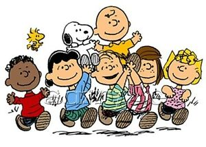 IRON-ON-TRANSFER-CHARLIE-BROWN-PEANUTS-SNOOPY-gang-friends-15x11cm