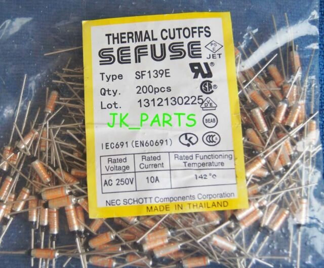 5Pcs SF139E Sefuse Cutoffs Thermal Fuse 142°C 142 Celsius Degree 10A 250V S6 G$