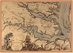 Early Pictorial Map Virginia showing Jamestown Williamsburg Yorktown ...