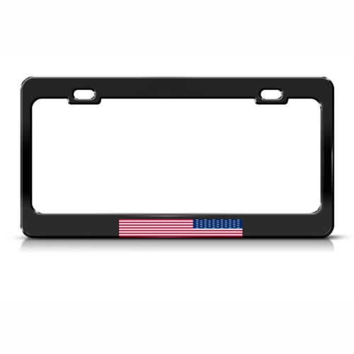 PROTEST GOVERNMENT UP SIDE DOWN AMERICAN FLAG License Plate Frame BLACK Tag