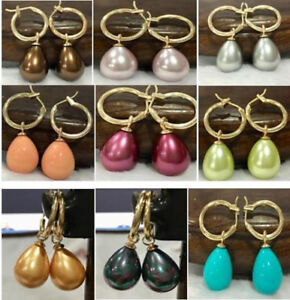New-12x16MM-DRIP-10-Color-SOUTH-SEA-SHELL-PEARL-DANGLE-EARRING-14K-Gold-Plated