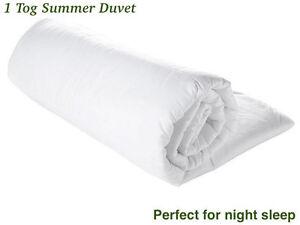 1 Tog Summer Cool Duvet Quilt Lightweight All Sizes
