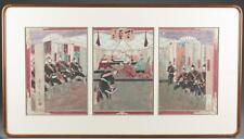 Japanese triptych woodblock print, Shoso Mishima Lot 442