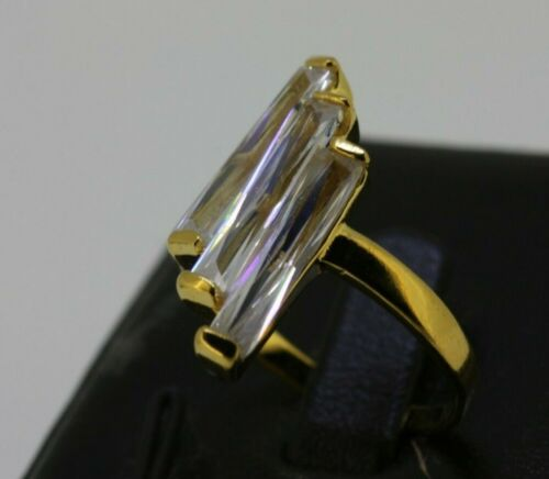 Classic 18k 18ct Yellow Gold Filled GF Clear CZ Woman Ring Sz8 R-A408 Gift