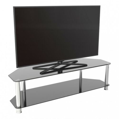 """TV Stand Modern Black Glass Unit up to 65/"""" inch HD LCD LED Curved TVs 140cm"""