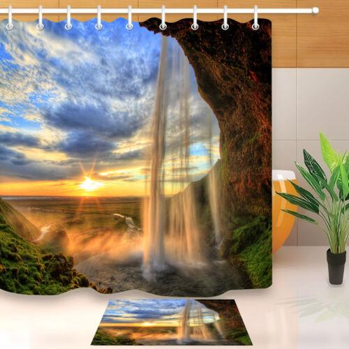 Summer Forest Waterfall Shower Curtain Set Waterproof Fabric Bathroom w//12 Hooks