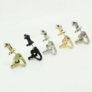 1Pair Punk 3D dinosaur Animal Pierced Stud Earrings Crystal Ear Cuff Jewelry