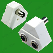 TV Aerial Coaxial Cable Splitter, RF Male to 2x Female, Adaptor, Freeview, Coax