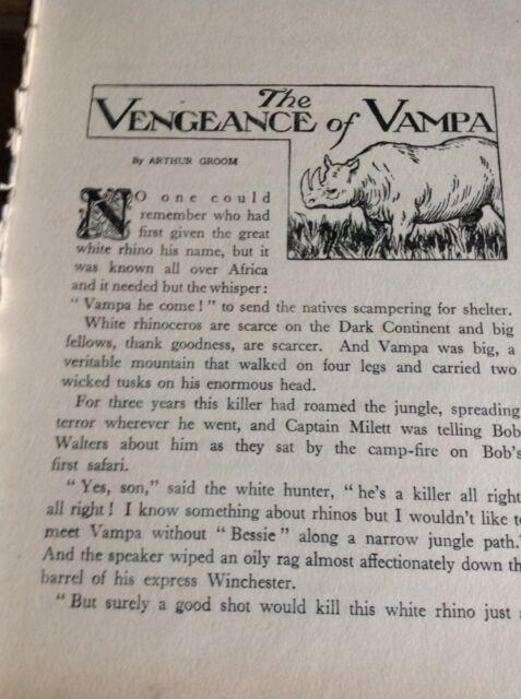 H1-1 Ephemera 1930s Short Story The Vengeance Of Vampa Arthur Groom