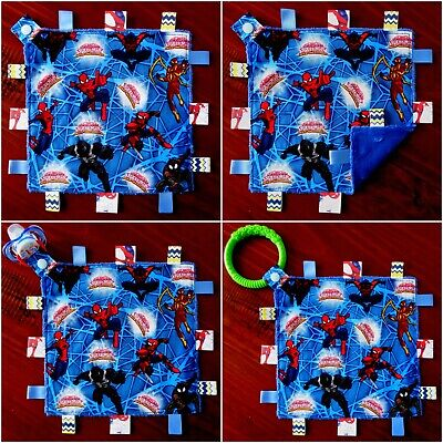 Spiderman Taggie Taggy Tag Security Blanket Toy Comforter dummy clip holder