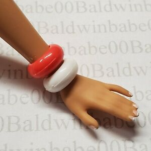 JEWELRY-T2-BARBIE-DOLL-MODEL-MUSE-RED-WHITE-TARGET-BASICS-BANGLE-BRACELETS-LOT