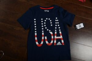 1bea37f698bf adidas USA Youth Navy Childrens America shirt Country Flags 5T Kids ...