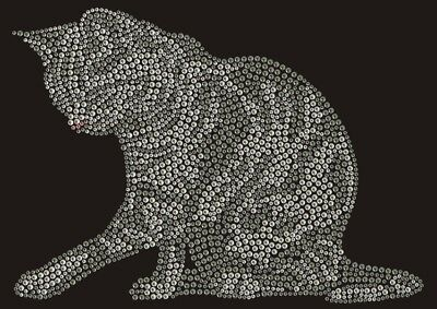 Hotfix Bügelbild  süßes Strass Kätzchen Katze Silber 130809 Karostonebox