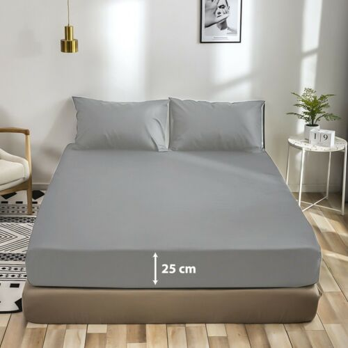 EXTRA DEEP 25CM FITTED SHEET BED SHEETS SINGLE DOUBLE KING SUPER KING SIZE