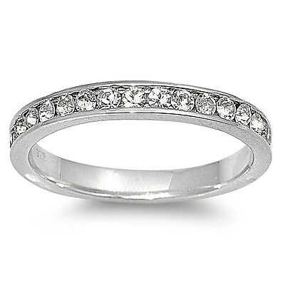 Eternity Fashion Clear CZ Stackable Promise Ring Sterling Silver Band Sizes 5-10