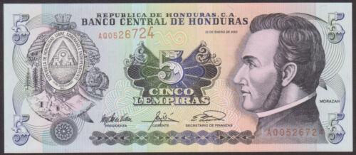 HONDURAS 5   LEMPIRAS   2003 P  85  Uncirculated Banknotes
