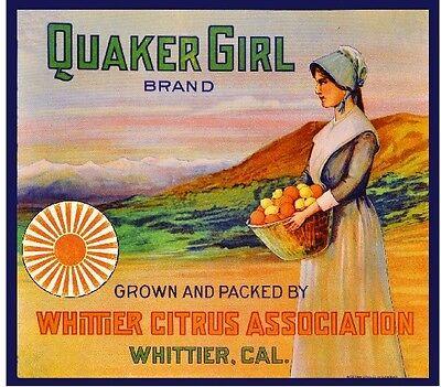 Whittier Los Angeles Quaker John Whittier Orange Citrus Fruit Crate Label Print