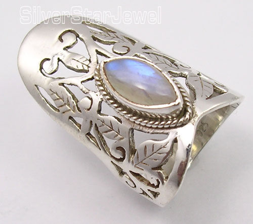 925 SOLID Silver MARQUISE RAINBOW MOONSTONE CELTIC Jewelry MEN/'S Ring Any Size