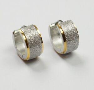 Das Bild wird geladen Titanium-Titan-Klappcreolen-Kreolen-Bicolor-Ohrring -Gold-Silber- d054ef032c