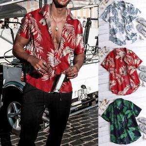Fashion-Men-039-s-Summer-Casual-Dress-Shirt-Mens-Floral-Short-Sleeve-Shirts-Tops-Tee