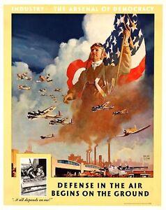 Defensa-en-el-aire-EEUU-la-segunda-guerra-mundial-cartel-de-propaganda-Moderno-Pared-Decoracion