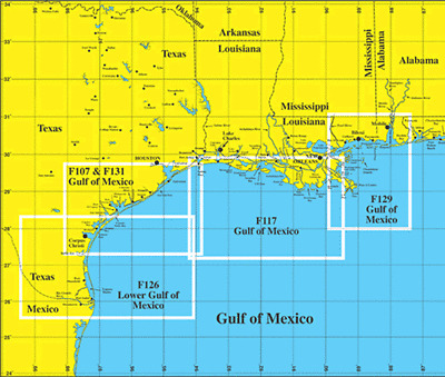 Hook-N-Line F117 Los Angeles-MS Gulf of Mexico Offshore Pêche Map