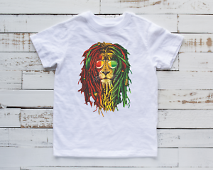 Children's Lion T-Shirt Jamaica Rasta Kids Top Cool Gift Present Idea Unisex