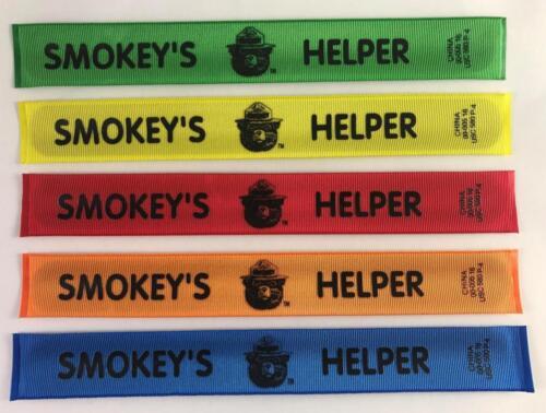 Yellow NEW Lot of 5 Smokey The Bear Helper Slap Bracelets Wristbands Green Blu