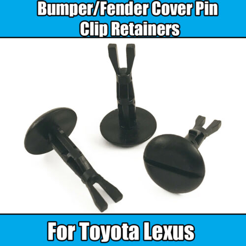 8x Clips pour Toyota Lexus Pare-chocs Couverture Pin Clip Retainers plastique noir
