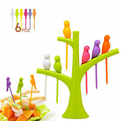1 Set 6pcs Cake Snack Dessert Fruit Forks And Tree Shape Holder Party Home Decor