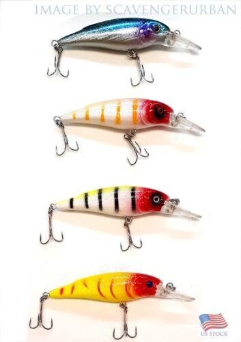 Assortiment de 4 nouveaux crankbaits saltwater freshwater fishing LEURRE DUR Bait bass
