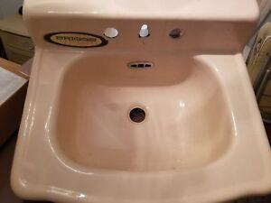 1950's Briggs Beautyware Retro Rose Colored Bathroom Sink ...