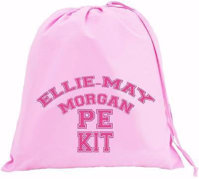 Personalised Large BLUE Cotton Drawstring Bag PE Kit Jolly Roger Pirate